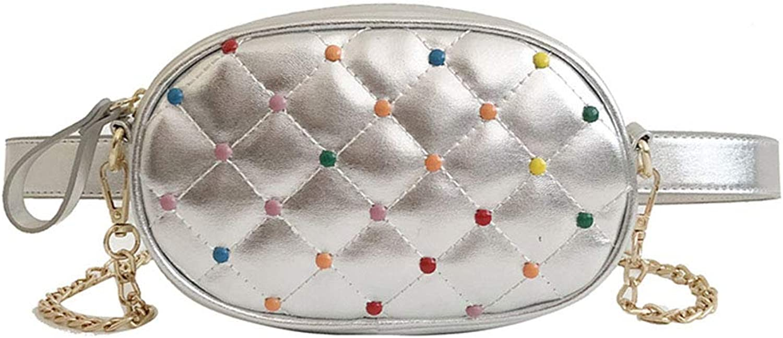 Outdoor Waist Pockets, Ladies Fashion Versatile color Studded Shoulder Bag, Multi-Function Crossbody Bag, Chain Bag,White