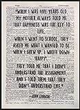 Kunstdruck, Zitat von John Lennon über Glück,