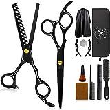 Ciseaux Coiffure Professionnel 12PCS Kit, Ciseaux DesepaississantCheveux Coupe de Cheveux Amincissement Barber de Coiffure Inoxydable Avec Cape de Coiffeur, pour Salon Maison
