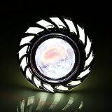 Motorcycle Hi/Low Beam LED Projector Headlight, Keenso Dual Halo Lens Angel Devil Eye Spot Lights...
