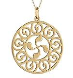 Talisman Jewellery-Colgante-Lauburu-Chapado oro- Mujer-Diametro 30mm-Cadena incluida,
