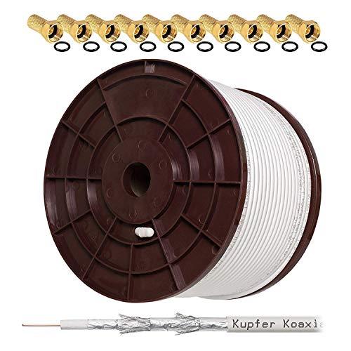HB DIGITAL Set 140dB 100m Koaxial SAT Kabel Reines KU Kupfer Koax Kabel Antennenkabel 5-Fach geschirmt für DVB-S / S2 DVB-C und DVB-T BK Anlagen + 10 vergoldete F-Stecker mit Gummiring Set