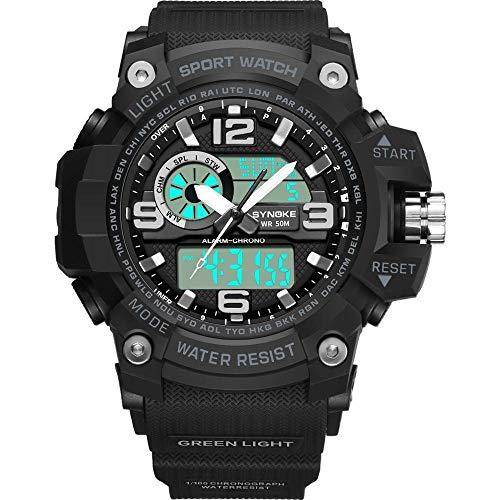 PANARS G Sports Shock Mountain Climbing Buceo Reloj Militar Hombres Relojes Cronómetro Digital Led Reloj Acero Inoxidable (Color: Gree Watch)