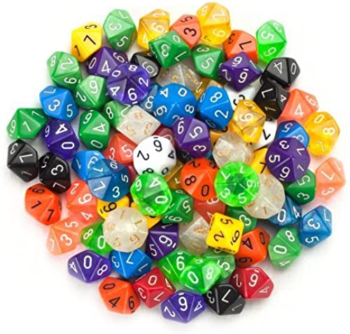 100+ Pack of Random D10 Polyhedral Dice in Multiple Farbes By Wiz Dice by Wiz Dice