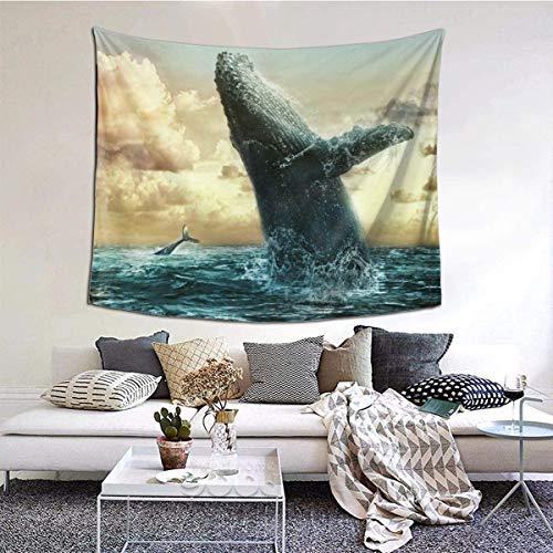 6051 pulgadas ballenas marinas niño nubes cielo agua océano niño tapiz para colgar en la pared arte de pared con bordes dobladillos, manta de pared decoración del hogar para dormitorio universitario