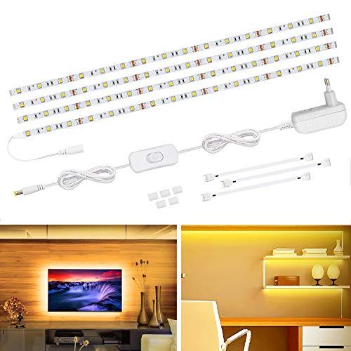 LED Unterbauleuchte, VOYOMO 4 x 50cm LED Schrankbeleuchtung TV Hintergrundbeleuchtung 5050SMD 2700K Warmweiß LED Streifen für Küchen Regale,Vitrinen und Fernseher