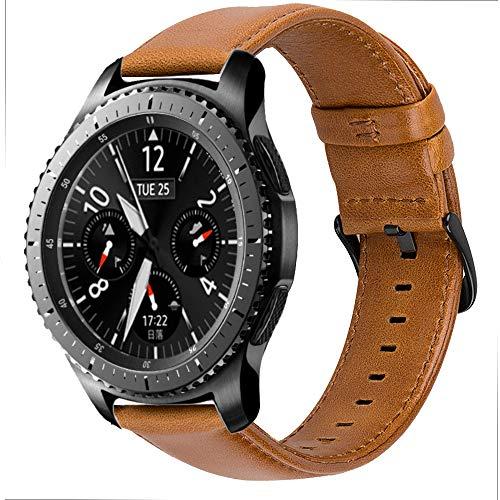 iBazal Cinturino Galaxy Watch 46mm Pelle 22mm Cinturini Cuoio Compatibile con Samsung Galaxy Watch 3 45mm/Gear S3 Frontier Classic SM-R760/770,Huawei Watch 2 Classic/GT,TicWatch Pro/E2/S2 - Marrone
