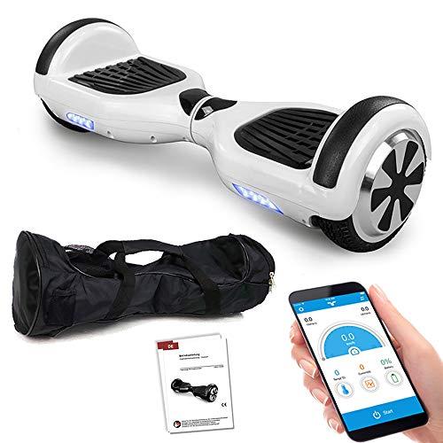 Smartway Balance Scooter 6, 5 Zoll 600W-Motion V.5 mit App Funktion, Bluetooth Lautsprecher, Kinder Sicherheitsmodus, Elektro Self Board Balance E-Scooter, 600 Watt Hover Wheel (Weiss)