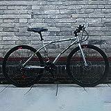 24-Speed 40 Círculos de Cuchillo Bicicleta de Carretera Solo Adulto Doble Disco Freno Bicicleta Urbana Conmuter Road Bike Comfort Tradicional Blanco-Plata