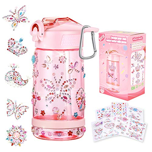 Decorate & Personalize Your Own Water Bottle with Tons of Gem Stickers,Fun DIY Art and Craft Kit for Children,Reusable BPA...