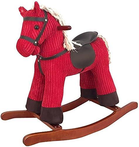 Sweety-Toys 6830 PARADISO Schaukelpferd rot super- sü sehr edel CORD COTTON