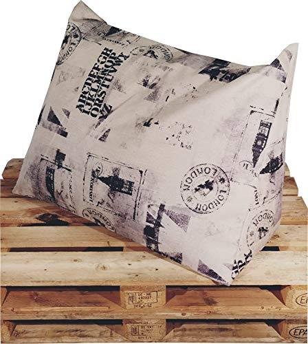 XXL-Keilkissen Keila Cedros, Sofa-Kissen, Rückenstütze, Deko-Kissen, Kinder-Kissen, Relax-Kissen, Paletten-Kissen in der Größe 94 x 64 x 42 cm in beige-schwarz, mit Schaumstoffflocken-Füllung