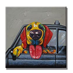 funny oil paintings - happy dog in car
