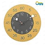 掛け時計 知育 キッズクロック 見やすい 音がしない シンプル 北欧 スイープ 現代 円形 軽い アラビア数字 インテリア 秒針なし イエロー グレー GMUMU