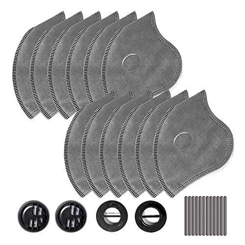 AstroAI 12 Pack 4 Schiechten Filtern Aktivkohlefilter austauschbar für Staubschutzmaske mit 4 Ventile & 12 Nasenpads Mundschutz Schutzmask