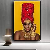 N / A Schwarze und goldene Lippen Frau afrikanische Kunst