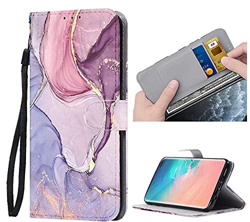 ZhuoFan Funda para Samsung Galaxy S10 4G Carcasa de Cuero PU con Tapa Flip Case con Soporte/Ranura de Tarjeta Cubierta Premium Magnético Suporte TPU Protectora Fundas para Samsung S10 4G 6,4', Mármol