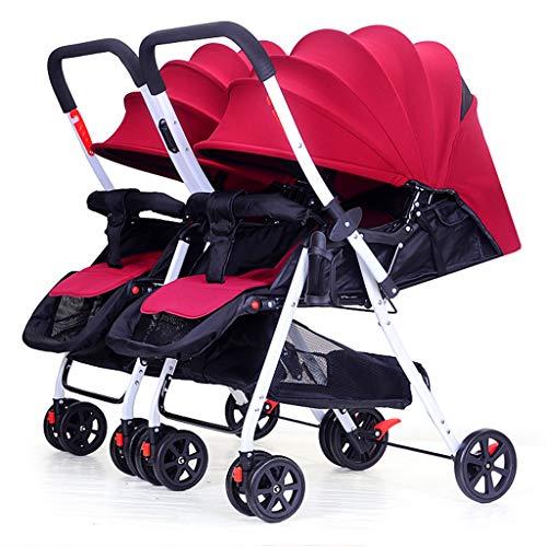 Poussettes jumelle de bébé, Chariot Infantile de Renversement léger Pliable démontable de Chariot à Double Nourrisson