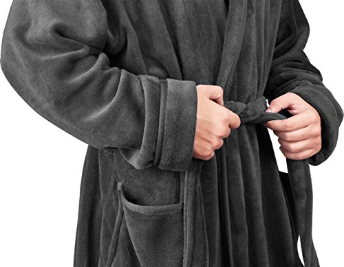 NY Threads Men's Fleece Bathrobe (Large/X-Large, Grey) - Shawl Collar Ultra-Soft Spa Robe- Comfortable, Absorbent and Durable - by