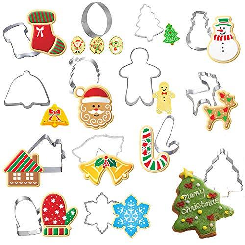 Hieefi Ausstechformen,14pc Weihnachten Cookie Cutter Set Formen Edelstahl Fondant Keks Form DIY Backwerkzeuge