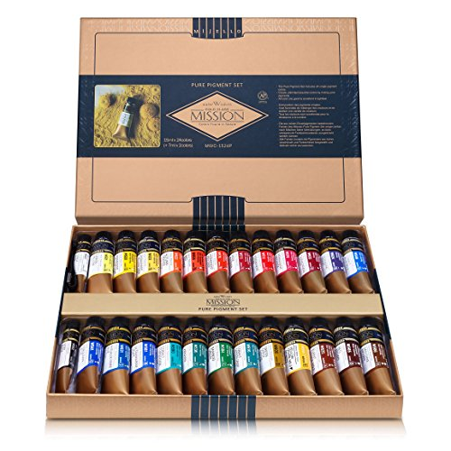 CrushOn@ Mission Gold Class Pure Pigment Watercolor MWC-1524P, 15ml x 24 Colors (7 Milliliter x 2ea) with Water Brush by CrushOn