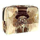 Bolsa de Maquillaje Hombre Steampunk Pintado a Mano Bolsa de