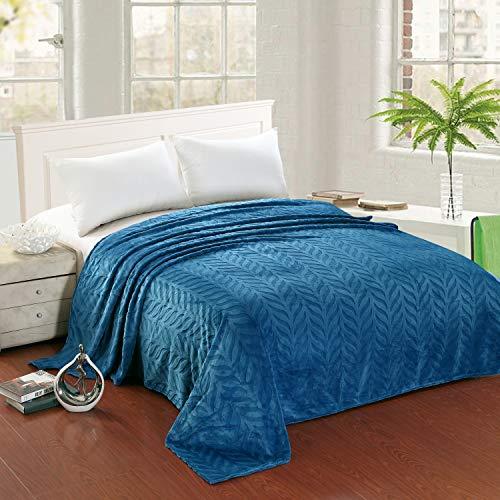 Eleganter Komfort Ganzjahres Micro-Fleece Ultraplüsch Warm Blattmuster Jacquard Decke King/Cal King Size Blau
