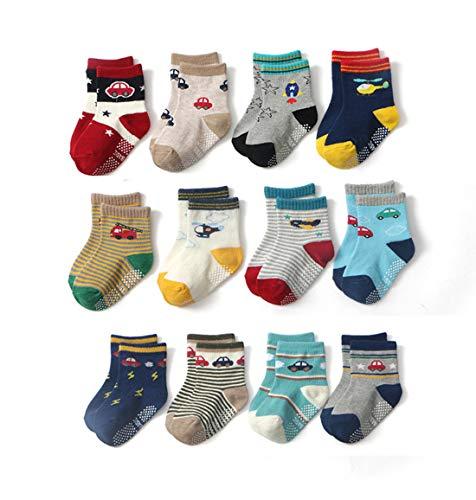Estwell 12 paar babysokken antislip kindersokken peuters karikatuur schattig katoen stopper ABS sokken voor baby jongens meisjes