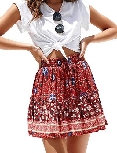 Women's Chiffon Floral Ruffle Pleated Short Skirt Drawstring Elastic High Waist A-line Mini Skater Skirt(XL, Red)