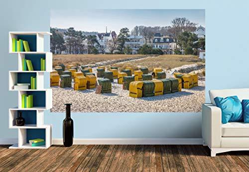 Premium Foto-Tapete Bunte Strandkörbe in Binz auf Rügen (versch. Größen) (Size M | 279 x 186 cm) Design-Tapete, Wand-Tapete, Wand-Dekoration, Photo-Tapete, Markenqualität von ERFURT