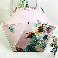 傘 折りたたみ傘ポケット傘折りたたみ太陽傘太陽と雨の女性Sun傘 防風傘 (Color : Pink)