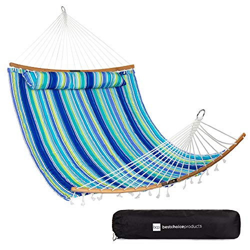 Best Choice Products 2-Person Portable Quilted Curved Hammock for Outdoor,...