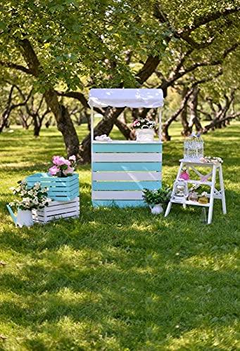 Fondos de Primavera Flor Hierba Verde Árbol Cortina Boda Fiesta de cumpleaños Fondos fotográficos escénicos para Estudio fotográfico A7 7x5ft / 2.1x1.5m