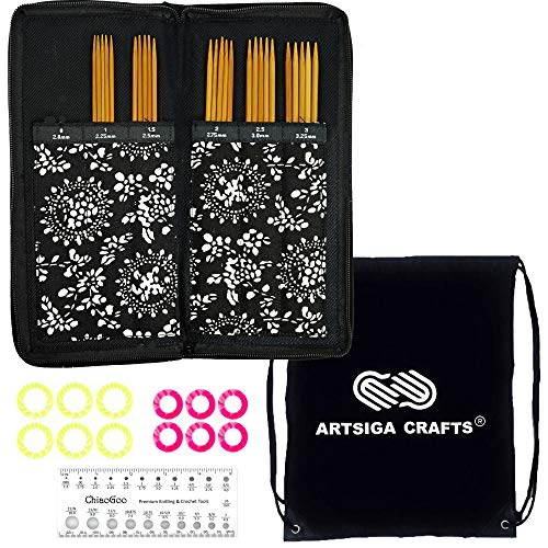 ChiaoGoo Knitting Needles Spin Bamboo Double Point DPN Sock Needle Set Bundle with 1 Artsiga Crafts Project Bag 3600