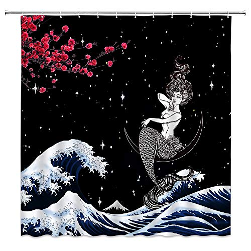 BCNEW Japanese Wave Shower Curtain Red Cherry Blossoms Mount Fuji Mermaid Asian Anime Oriental Abstract Floral Art Polyester Fabric Bathroom Decoration 70×70 Inch with Hook Hole