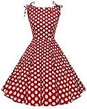 MUADRESS 1958 Vestidos Verano de Fiesta Mujer Elegante 1950s Pin Up Vintage Falda Retro Cóctel Rockabilly Clásico Punto Rojo Blanco B M