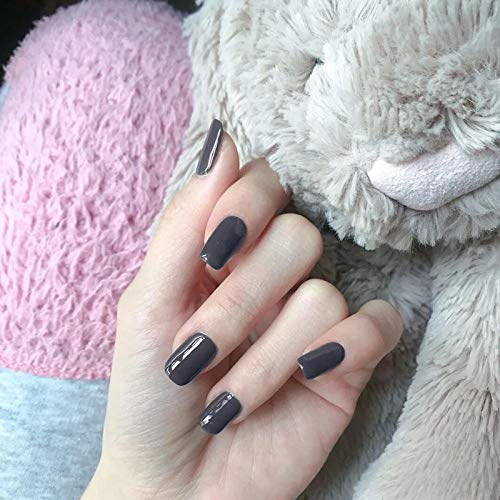 rpbll 24pcs/box Mid-length size Square Head Wearable Fake Nails press on Grey Black Pure Color Personality Finished false Fingernails