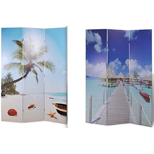 Helloshop26 JJ Paravent Double Face 3 Pans Mer, PVC, Multicolore, 40 x 120 x 180 cm