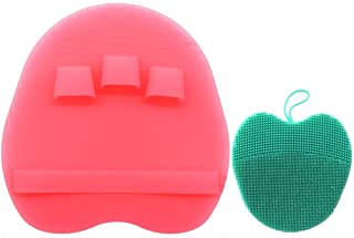 Pure Silicone Body Brush Shower Scrubber Gentle Exfoliating Bath Shower Tool, with Super Soft Manual Facial Cleansing Brush