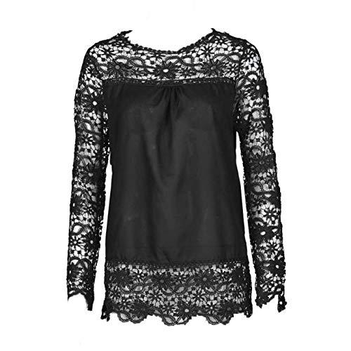 Camisa de Manga Larga para Mujer Blusa de Encaje Informal Tops Sueltos de algodón Camiseta BU/XXXL