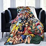 Wakaltk One Piece Anime Throw Blanket Microfiber Lightweight Fluffy Cozy Blanket for Couch Sofa Bed 50' X40