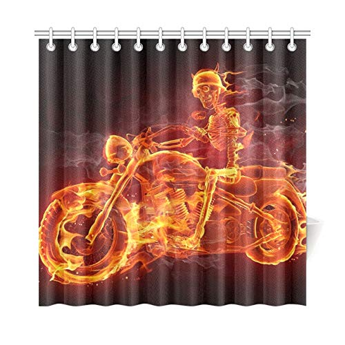 WJJSXKA Home Decor Bath Curtain Fire Skeleton Riding Motorcycle Polyester Fabric Waterproof Shower Curtain for Bathroom, 72 X 72 Inch Shower Curtains Hooks Included
