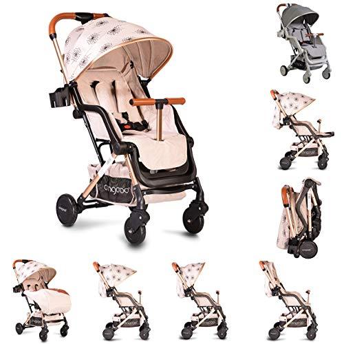 Cangaroo Kinderwagen, Buggy Mini, EVA-Reifen Getränkehalter, Fußsack, klappbar beige