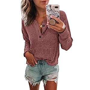 Women's Henley Shirts  Long Sleeve  Casual Loose Fit Tees