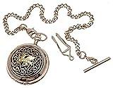 Full Hunter - Reloj de bolsillo (cuarzo, dos tonos, diseño de dragón celta de dragón)