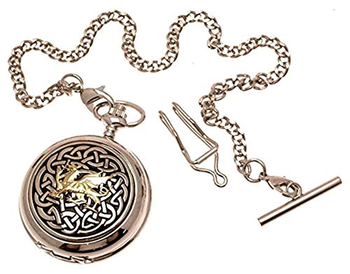 Pocket Watch - Solid Pewter Fronted Quartz Pocket Watch - Two Tone Celtic Knot with Dragon Design 59
