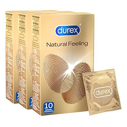 Durex Natural Feeling Preservativos – Condones sin látex para una piel natural en la piel – Pack de 30 (3 x 10 unidades)
