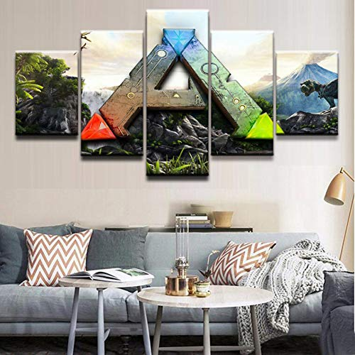 WFUBY Decorative Paintings Art Print Painting 5 Pieces Ark Survival Evolved Canvas Poster HD Wall Picture for Home Decoration Kids Room[No Frame]-30x40x2 30x60x2 30x80cm