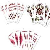 Hrpa 15 PCS Zombie Scar Tatuajes temporales Sangre falsa de la costra para la fiesta de Halloween Prop Heridas Tatuajes temporales Maquillaje Etiqueta