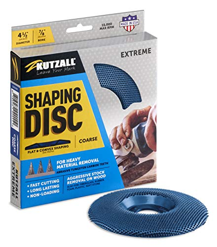 """Kutzall Extreme Shaping Disc - Coarse, 4-1/2"""" (114.3mm) Diameter X 7/8"""" (22.2mm) Bore - Woodworking Angle Grinder Attachment for DeWalt, Bosch, Milwaukee, Makita. Abrasive Tungsten Carbide, SD412X90"""